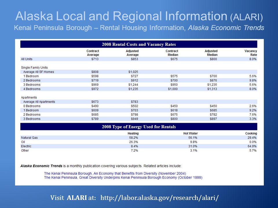 Alaska Local and Regional Information (ALARI) Kenai Peninsula Borough – Rental Housing Information, Alaska Economic Trends Visit ALARI at: http://labo