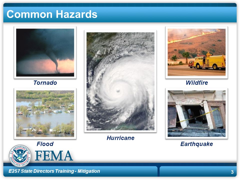 E257 State Directors Training - Mitigation 3 Common Hazards Hurricane FloodEarthquake WildfireTornado