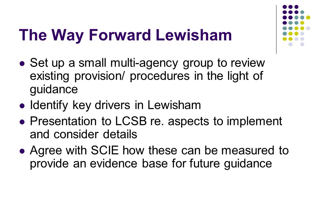 The Way Forward Lewisham Set up a small multi-agency group to review existing provision/ procedures in the light of guidance Identify key drivers in Lewisham Presentation to LCSB re.
