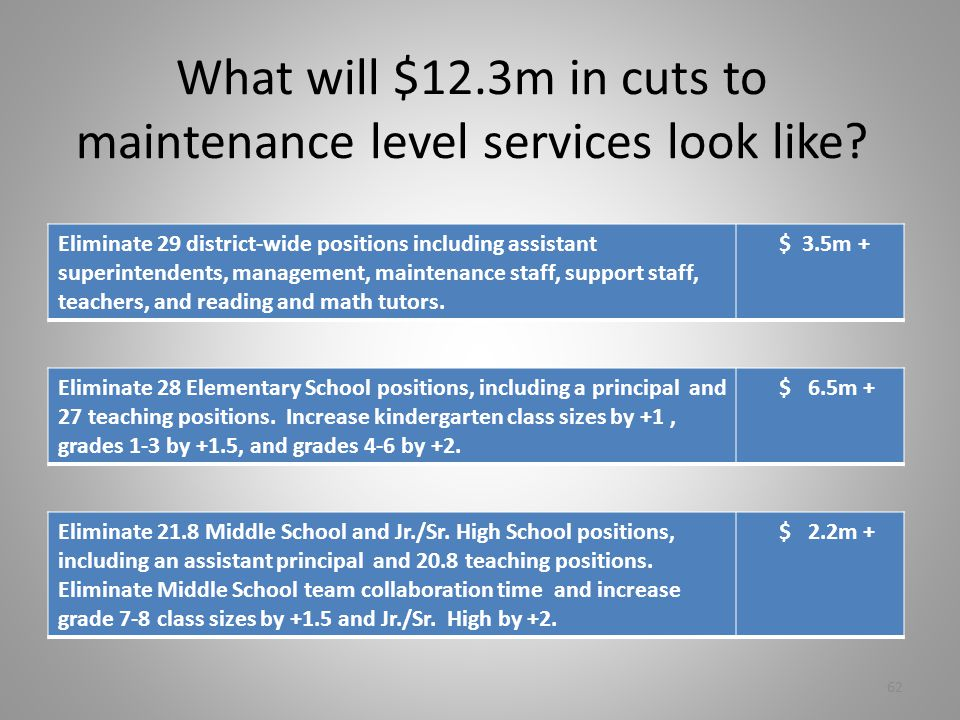 What will $12.3m in cuts to maintenance level services look like.