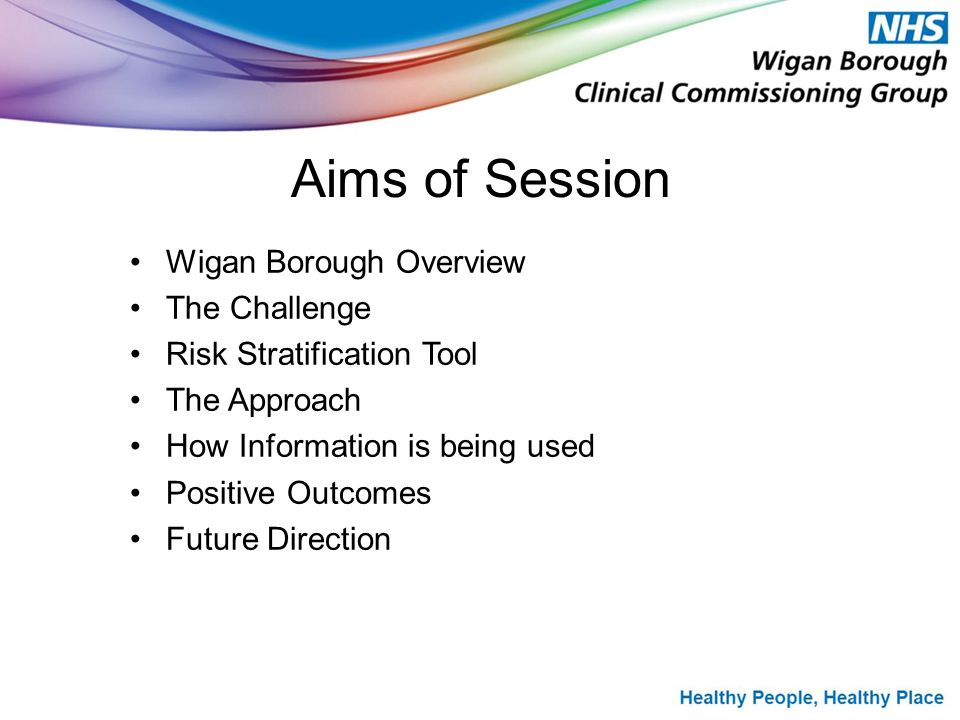 Aims of Session Wigan Borough Overview The Challenge Risk Stratification Tool The Approach How Information is being used Positive Outcomes Future Direction