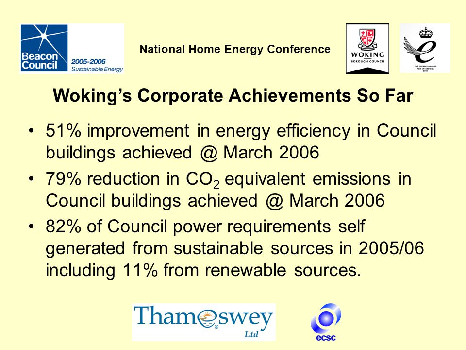 National Home Energy Conference 51% improvement in energy efficiency in Council buildings achieved @ March 2006 79% reduction in CO 2 equivalent emissions in Council buildings achieved @ March 2006 82% of Council power requirements self generated from sustainable sources in 2005/06 including 11% from renewable sources.