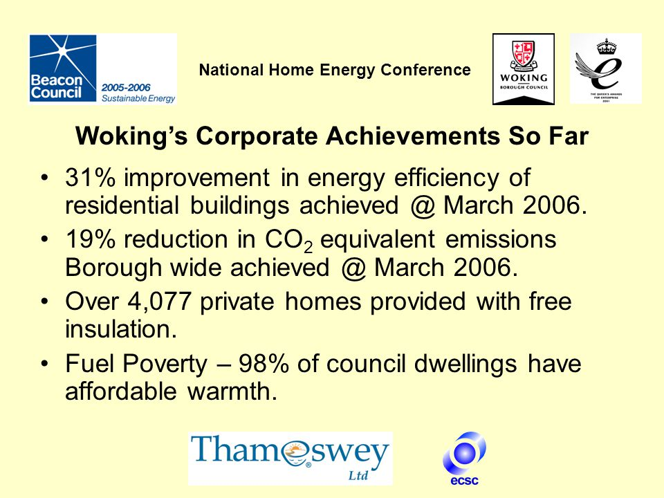 National Home Energy Conference 31% improvement in energy efficiency of residential buildings achieved @ March 2006.