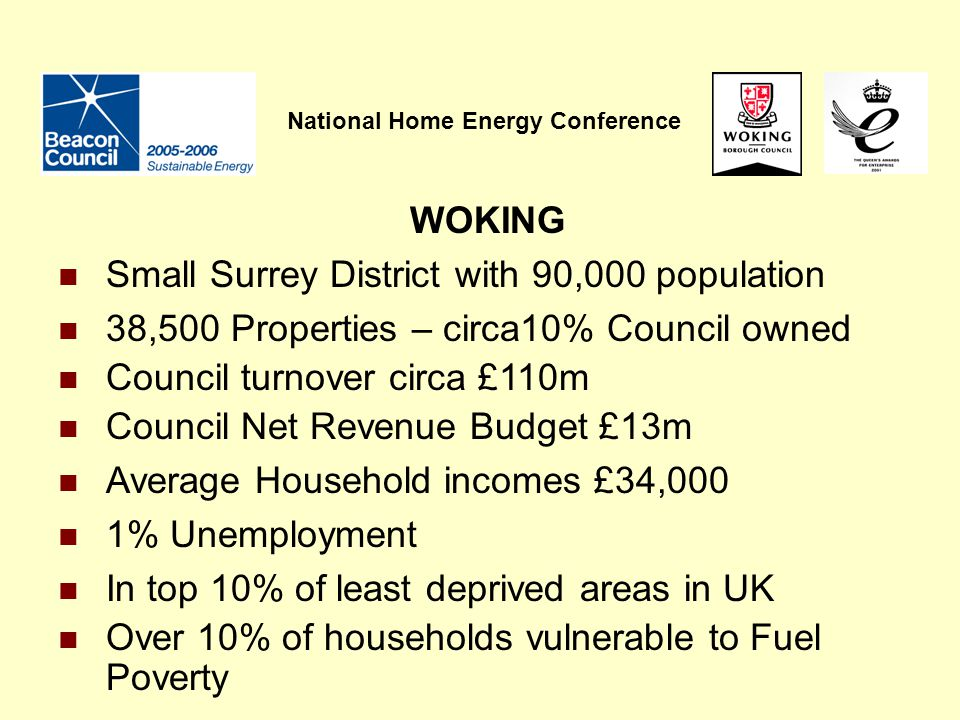 National Home Energy Conference WOKING Small Surrey District with 90,000 population 38,500 Properties – circa10% Council owned Council turnover circa