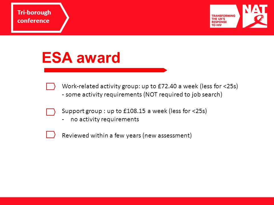 ESA award Tri-borough conference Work-related activity group: up to £72.40 a week (less for <25s) - some activity requirements (NOT required to job search) Support group : up to £108.15 a week (less for <25s) -no activity requirements Reviewed within a few years (new assessment)