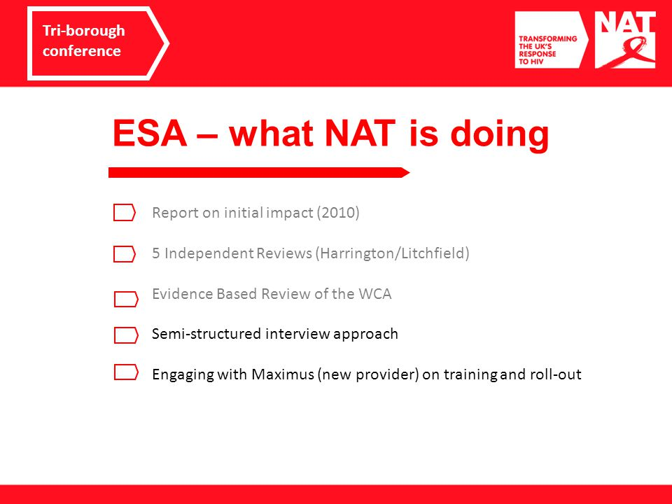 ESA – what NAT is doing Tri-borough conference Report on initial impact (2010) 5 Independent Reviews (Harrington/Litchfield) Evidence Based Review of