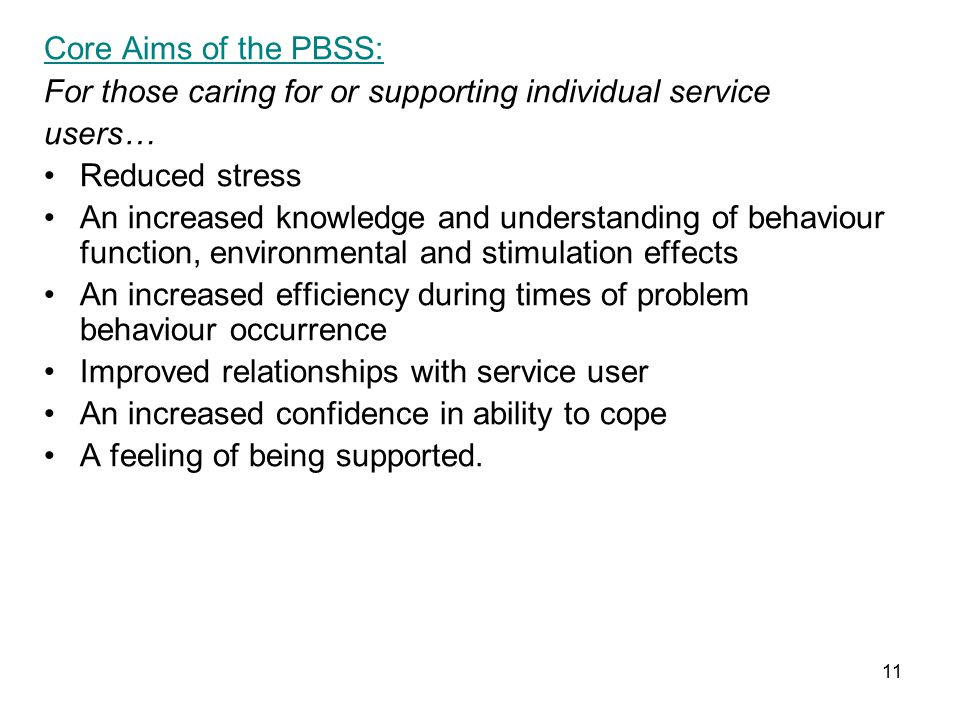 11 Core Aims of the PBSS: For those caring for or supporting individual service users… Reduced stress An increased knowledge and understanding of behaviour function, environmental and stimulation effects An increased efficiency during times of problem behaviour occurrence Improved relationships with service user An increased confidence in ability to cope A feeling of being supported.