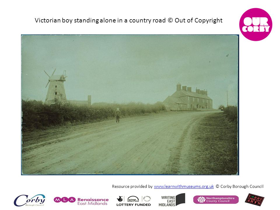 Victorian boy standing alone in a country road © Out of Copyright Resource provided by www.learnwithmuseums.org.uk © Corby Borough Councilwww.learnwit
