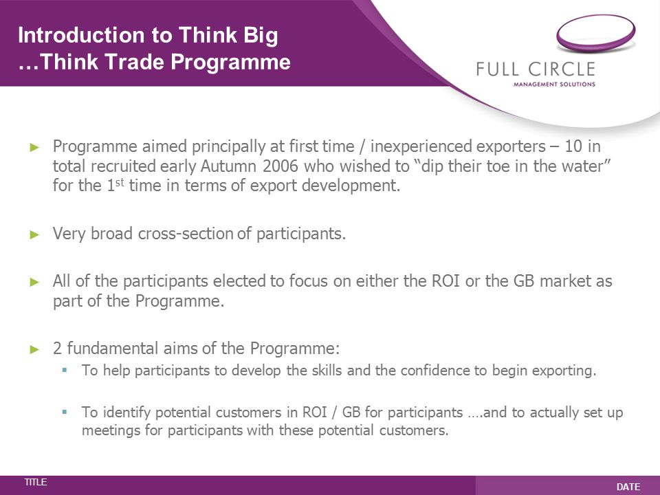 TITLE DATE Key Elements of the Programme ► Export skills development workshops ► One to one export-focused mentoring.