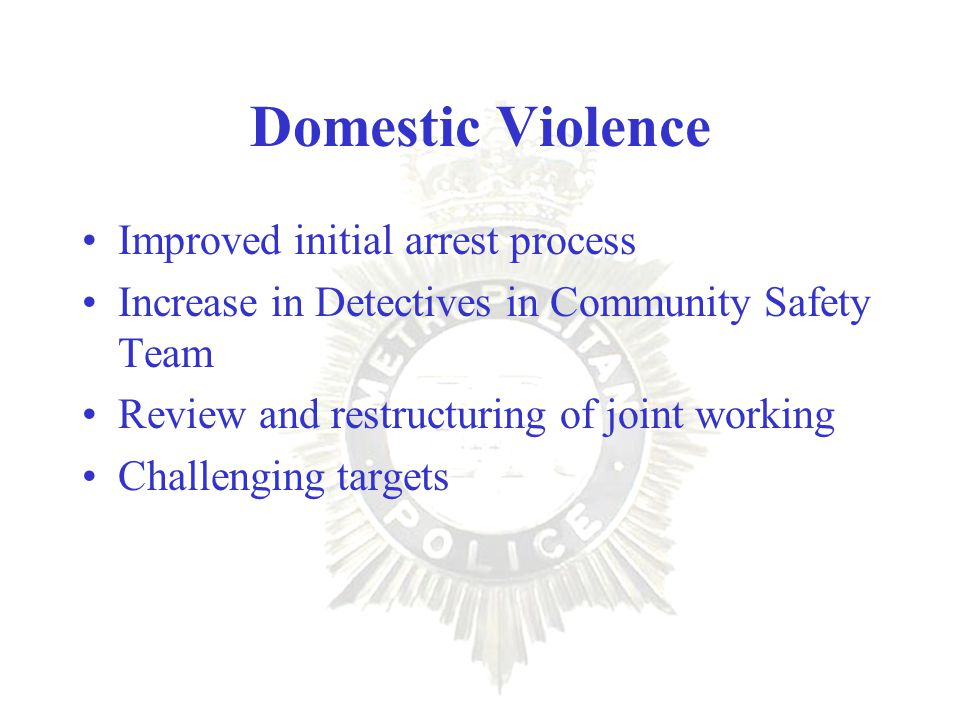 Domestic Violence Improved initial arrest process Increase in Detectives in Community Safety Team Review and restructuring of joint working Challenging targets