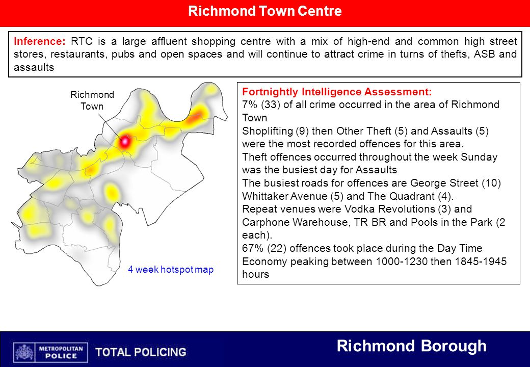 Richmond Borough Richmond Town Centre Inference: RTC is a large affluent shopping centre with a mix of high-end and common high street stores, restaurants, pubs and open spaces and will continue to attract crime in turns of thefts, ASB and assaults Fortnightly Intelligence Assessment: 7% (33) of all crime occurred in the area of Richmond Town Shoplifting (9) then Other Theft (5) and Assaults (5) were the most recorded offences for this area.