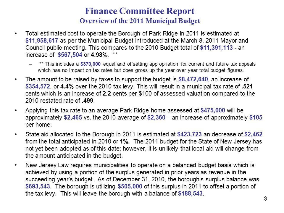 3 Finance Committee Report Overview of the 2011 Municipal Budget Total estimated cost to operate the Borough of Park Ridge in 2011 is estimated at $11