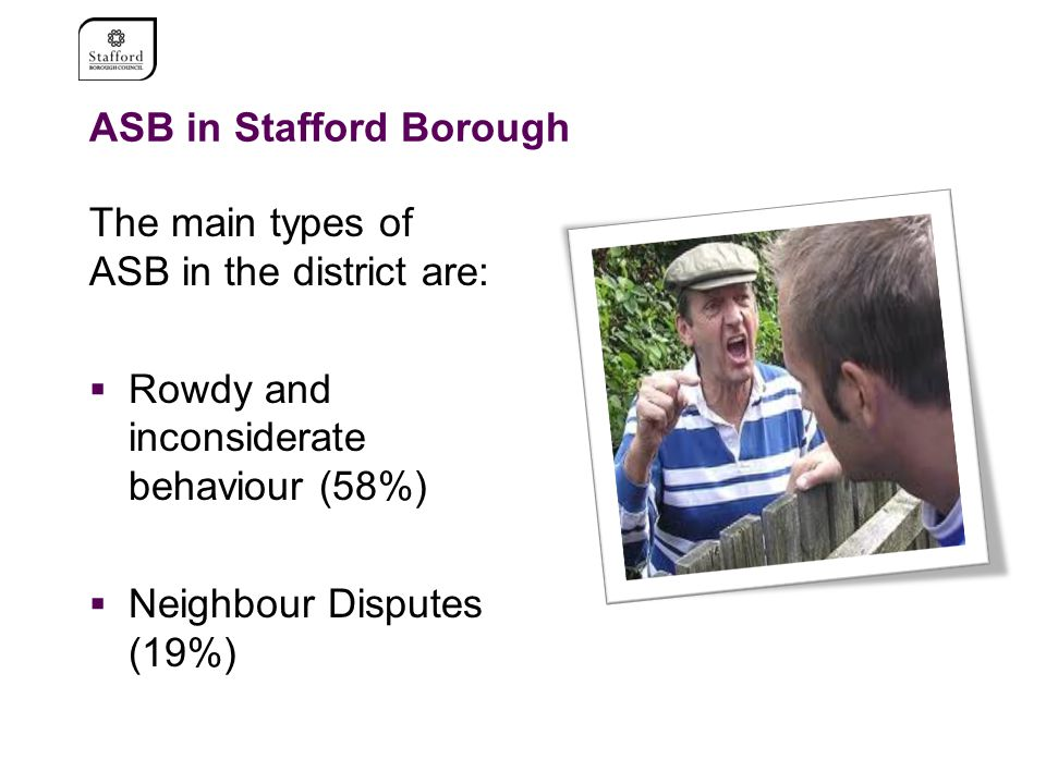 ASB in Stafford Borough The main types of ASB in the district are:  Rowdy and inconsiderate behaviour (58%)  Neighbour Disputes (19%)