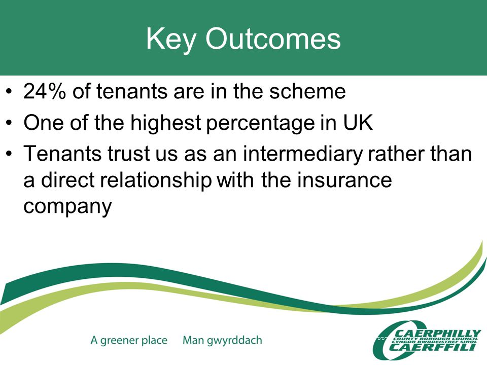 Key Outcomes 24% of tenants are in the scheme One of the highest percentage in UK Tenants trust us as an intermediary rather than a direct relationship with the insurance company