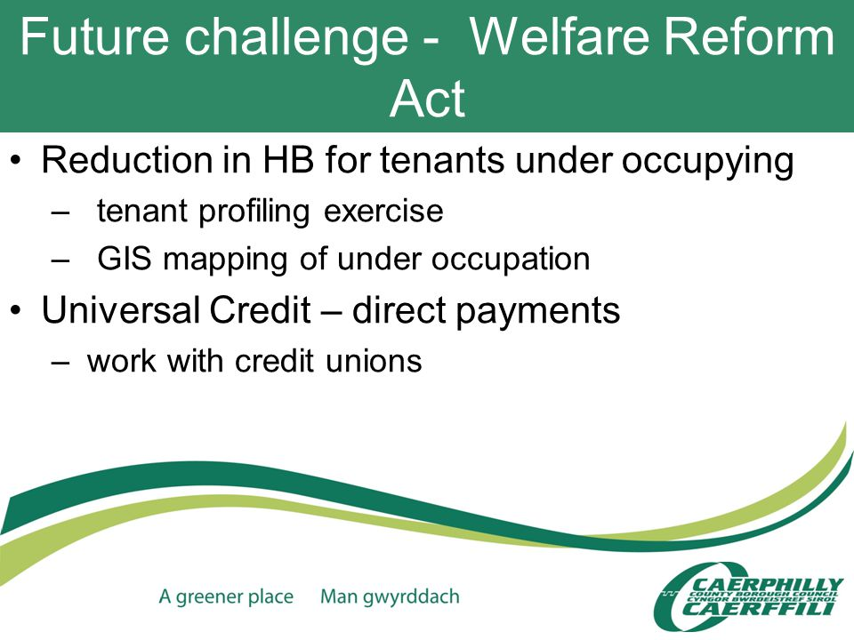 Future challenge - Welfare Reform Act Reduction in HB for tenants under occupying – tenant profiling exercise – GIS mapping of under occupation Universal Credit – direct payments – work with credit unions