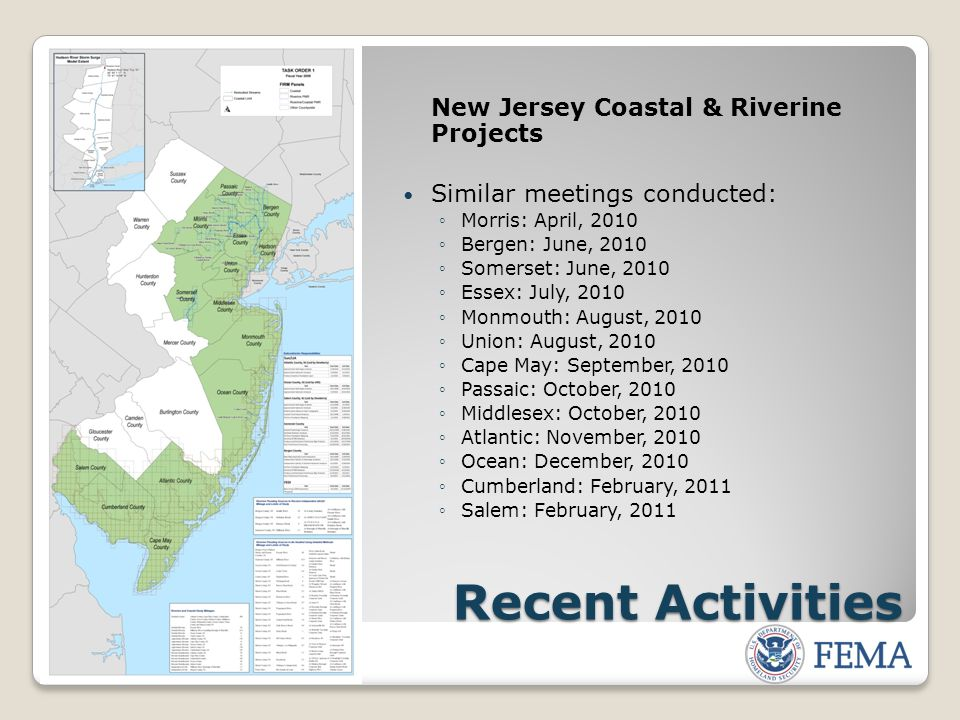 Resources FEMA: www.fema.gov Floodsmart, the official site of the National Flood Insurance Program (NFIP): www.floodsmart.gov Risk Assessment, Mapping and Planning Partners: www.RAMPP-team.com NFIP Reform: www.fema.gov/business/nfip/nfip_reform.shtm New Jersey Department of Environmental Protection - NFIP Coordinator New Jersey State Office of Emergency Management
