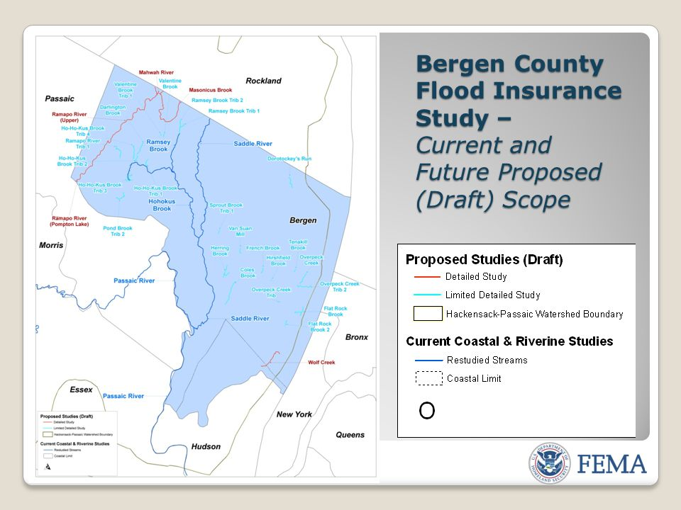 Bergen County Flood Insurance Study – Current and Future Proposed (Draft) Scope