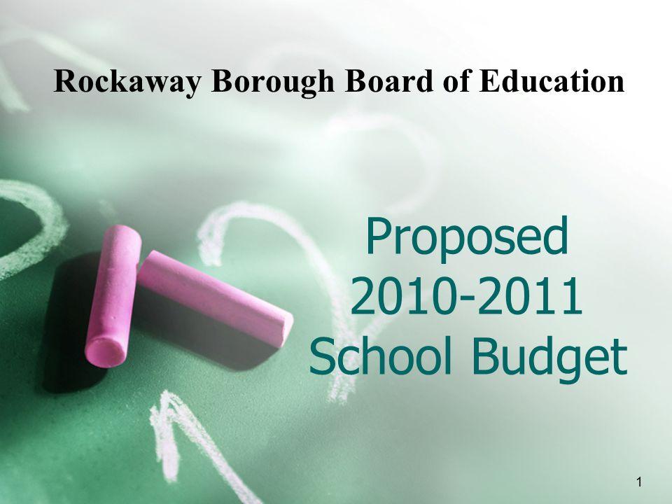 Proposed 2010-2011 School Budget Rockaway Borough Board of Education 1