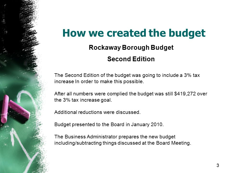 How we created the budget Rockaway Borough Budget Second Edition The Second Edition of the budget was going to include a 3% tax increase In order to make this possible.