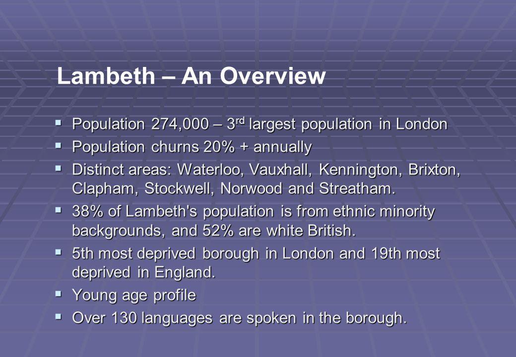  Population 274,000 – 3 rd largest population in London  Population churns 20% + annually  Distinct areas: Waterloo, Vauxhall, Kennington, Brixton, Clapham, Stockwell, Norwood and Streatham.