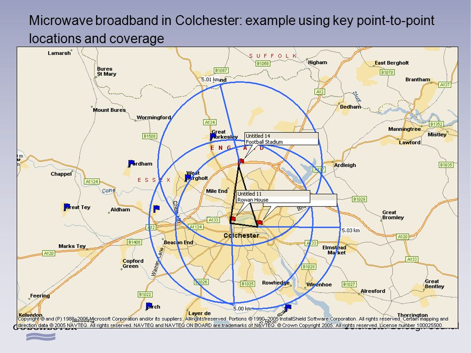 Microwave broadband in Colchester: example using key point-to-point locations and coverage