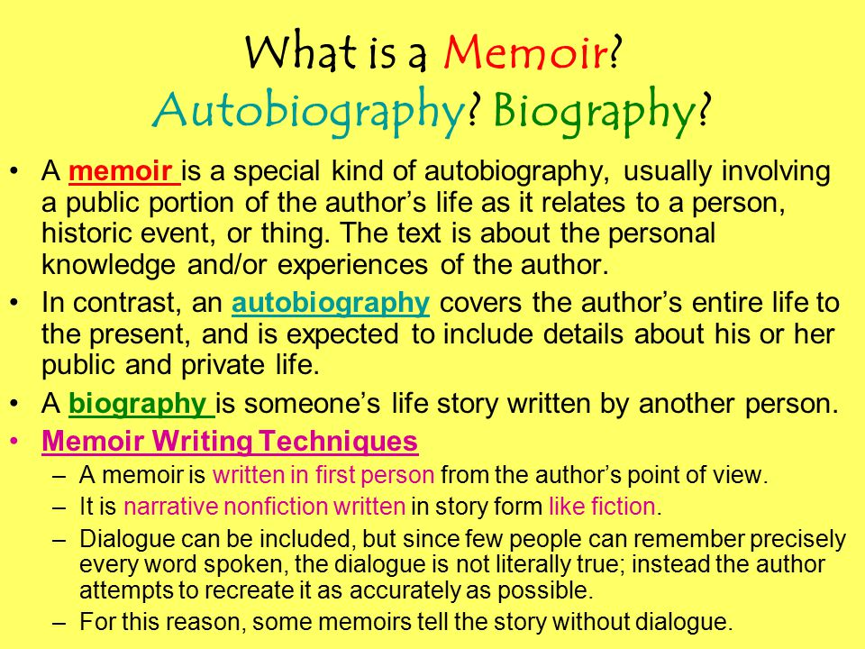 What is a Memoir. Autobiography. Biography.