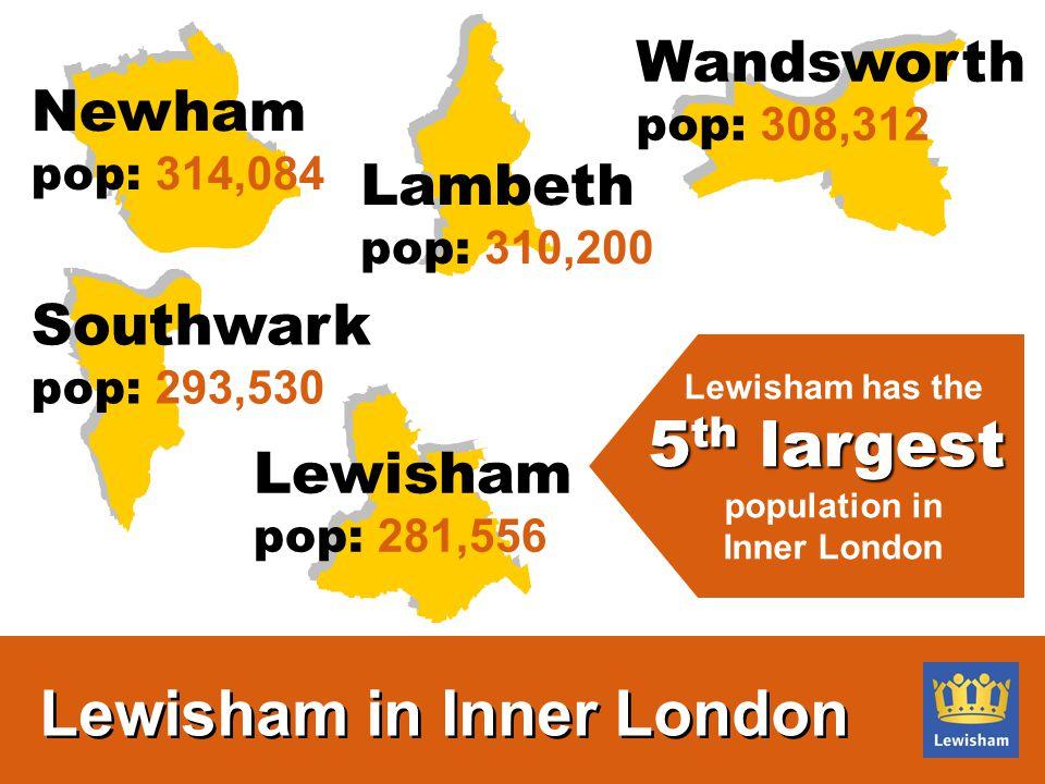 Lambeth pop: 310,200 Wandsworth pop: 308,312 Southwark pop: 293,530 Lewisham pop: 281,556 Newham pop: 314,084 Lewisham has the 5 th largest population in Inner London Lewisham in Inner London