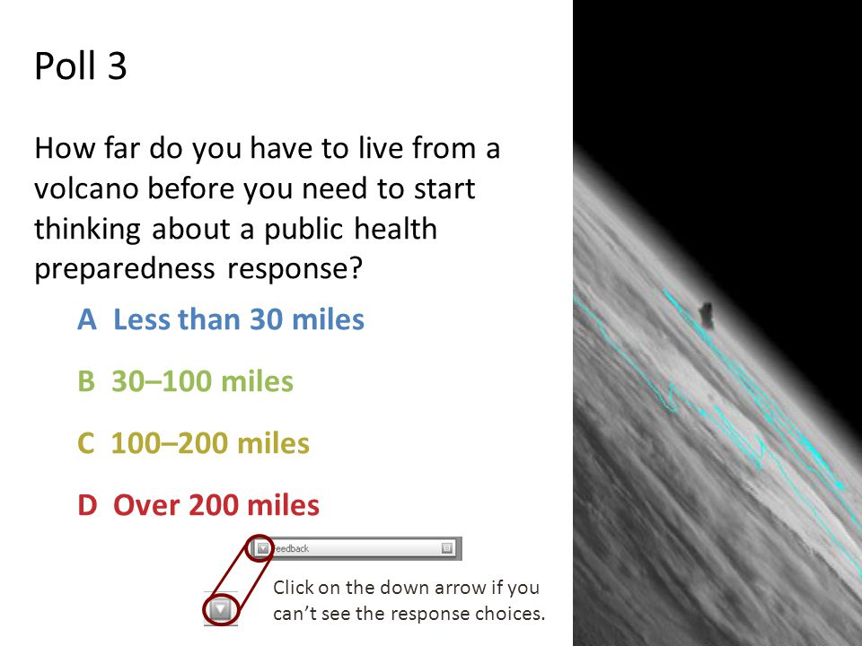 Poll 3 How far do you have to live from a volcano before you need to start thinking about a public health preparedness response.