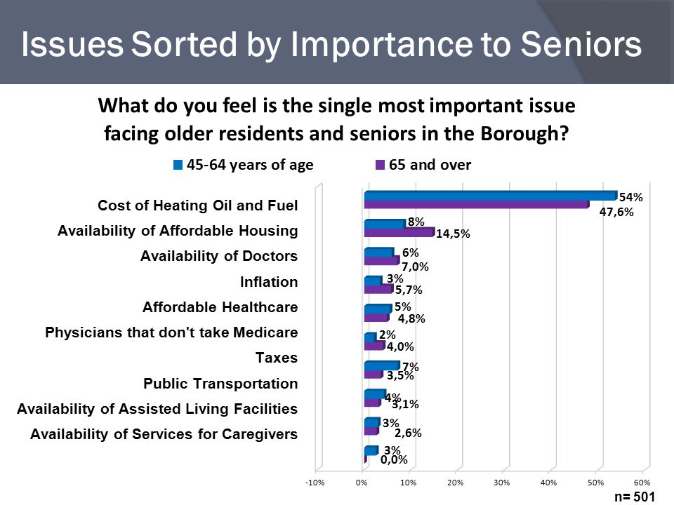 Issues Sorted by Importance to Seniors