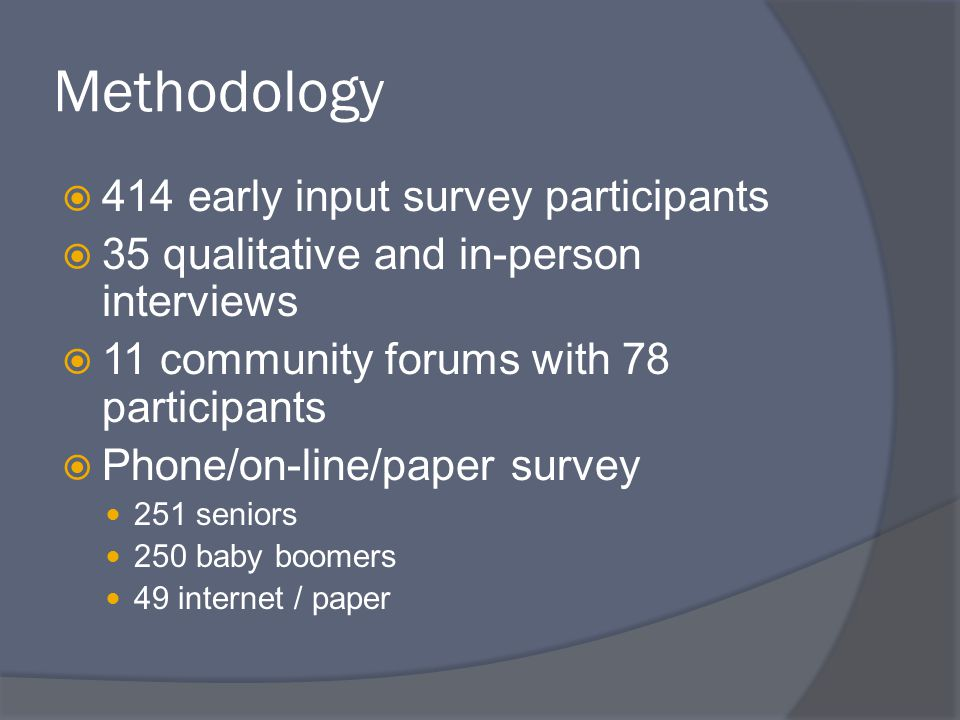 Methodology  414 early input survey participants  35 qualitative and in-person interviews  11 community forums with 78 participants  Phone/on-line/paper survey 251 seniors 250 baby boomers 49 internet / paper