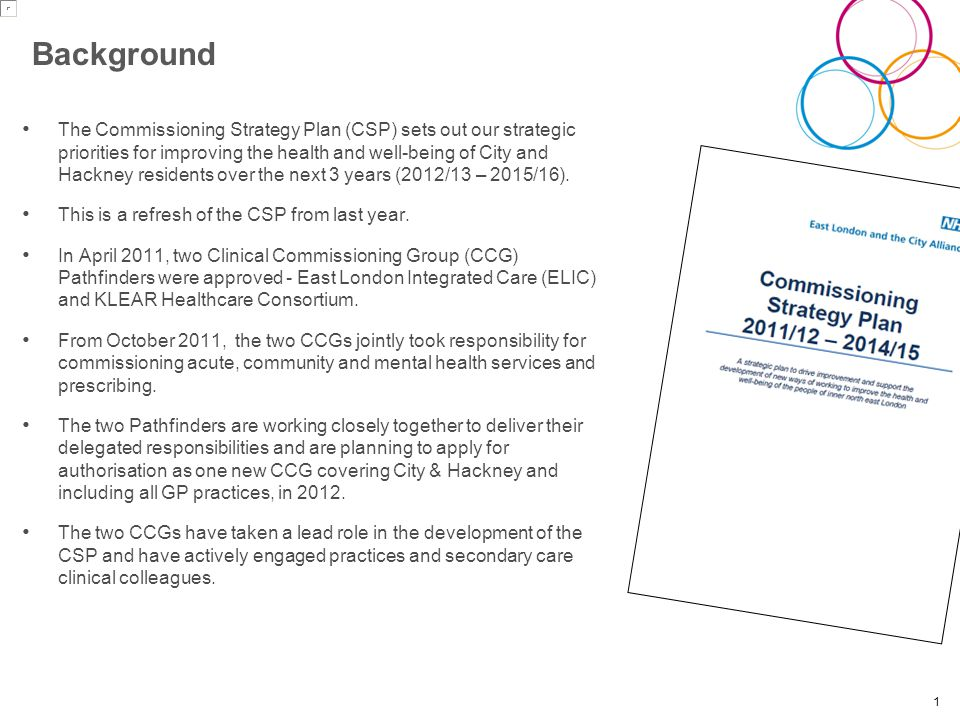 Background The Commissioning Strategy Plan (CSP) sets out our strategic priorities for improving the health and well-being of City and Hackney residents over the next 3 years (2012/13 – 2015/16).