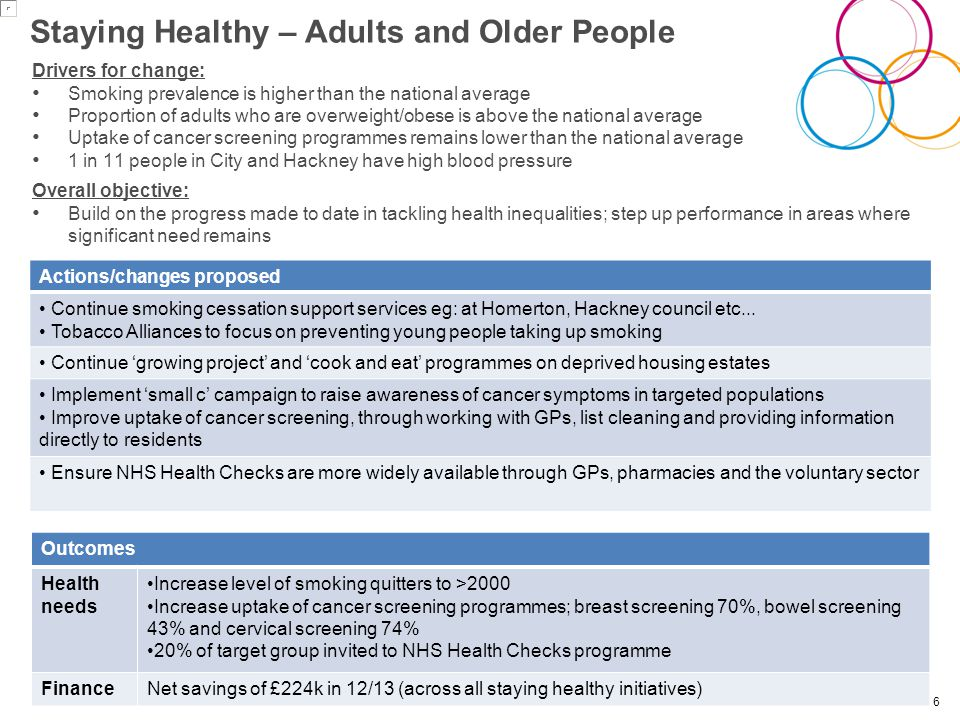 Staying Healthy – Adults and Older People Drivers for change: Smoking prevalence is higher than the national average Proportion of adults who are overweight/obese is above the national average Uptake of cancer screening programmes remains lower than the national average 1 in 11 people in City and Hackney have high blood pressure Overall objective: Build on the progress made to date in tackling health inequalities; step up performance in areas where significant need remains 6 Actions/changes proposed Continue smoking cessation support services eg: at Homerton, Hackney council etc...