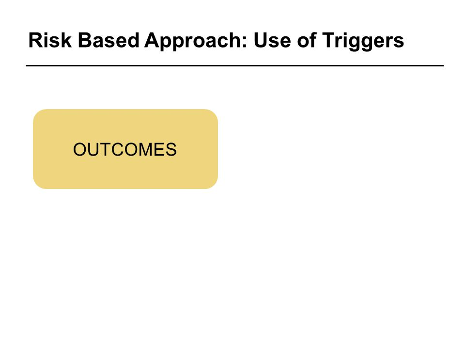 Risk Based Approach: Use of Triggers OUTCOMES