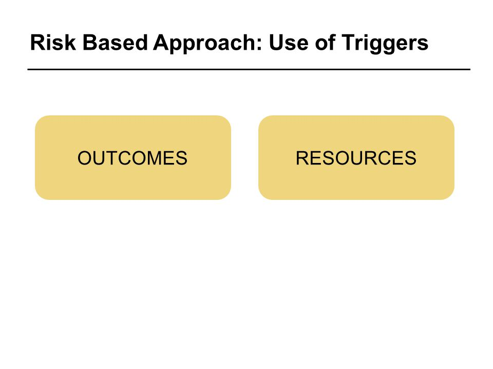 Risk Based Approach: Use of Triggers OUTCOMESRESOURCES