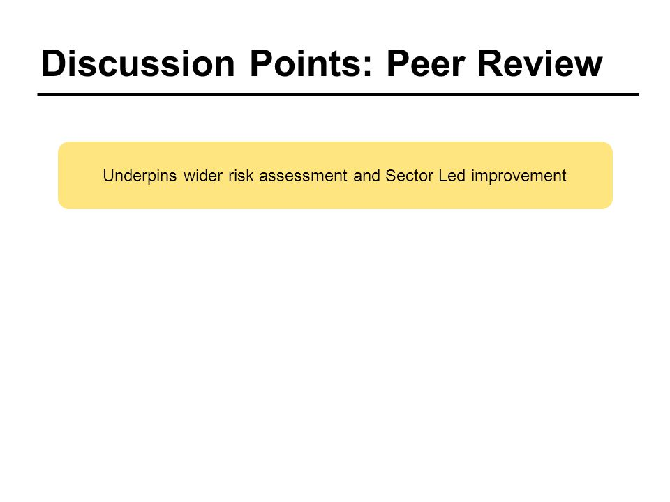 Discussion Points: Peer Review Underpins wider risk assessment and Sector Led improvement