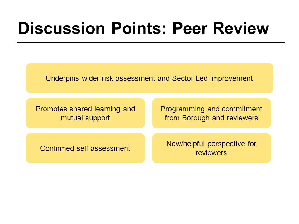 Discussion Points: Peer Review Confirmed self-assessment New/helpful perspective for reviewers Promotes shared learning and mutual support Programming and commitment from Borough and reviewers Underpins wider risk assessment and Sector Led improvement