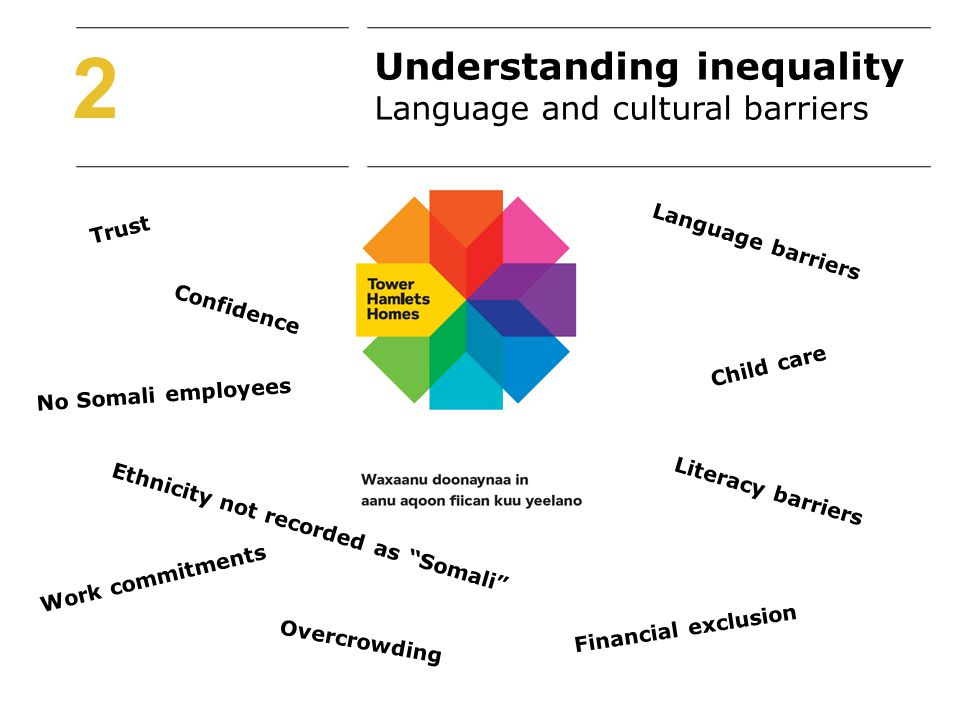 2 Language barriers Confidence Trust Literacy barriers No Somali employees Ethnicity not recorded as Somali Child care Financial exclusion Work commitments Overcrowding Understanding inequality Language and cultural barriers