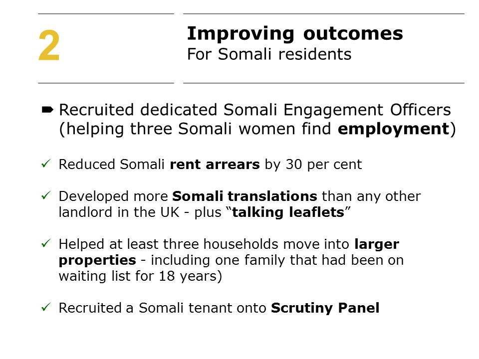 2  Recruited dedicated Somali Engagement Officers (helping three Somali women find employment) Reduced Somali rent arrears by 30 per cent Developed more Somali translations than any other landlord in the UK - plus talking leaflets Helped at least three households move into larger properties - including one family that had been on waiting list for 18 years) Recruited a Somali tenant onto Scrutiny Panel Improving outcomes For Somali residents
