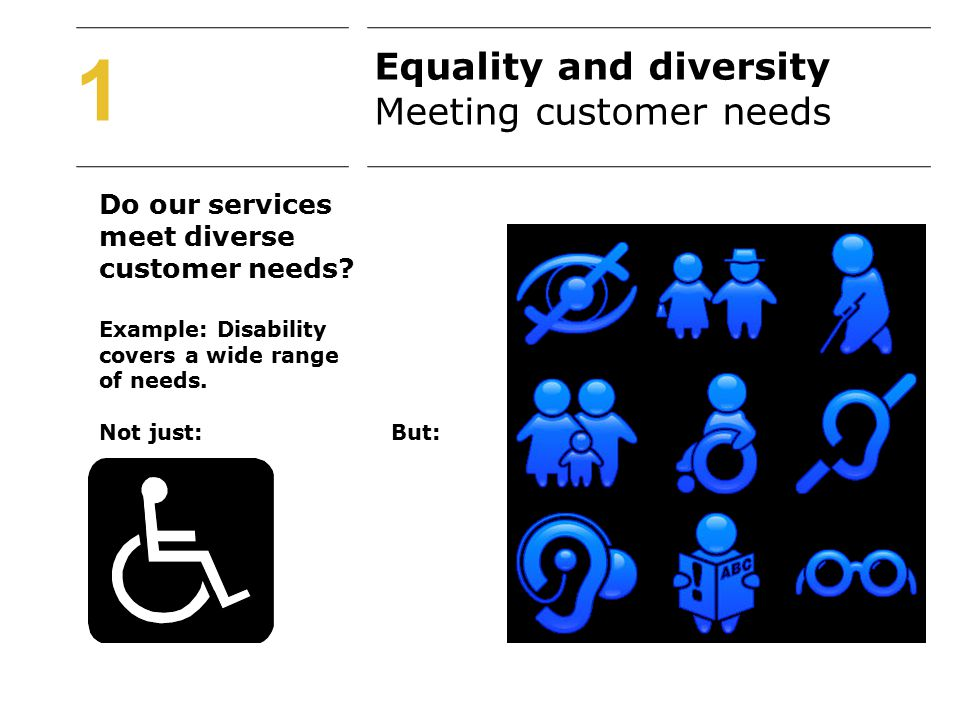 Do our services meet diverse customer needs. Example: Disability covers a wide range of needs.