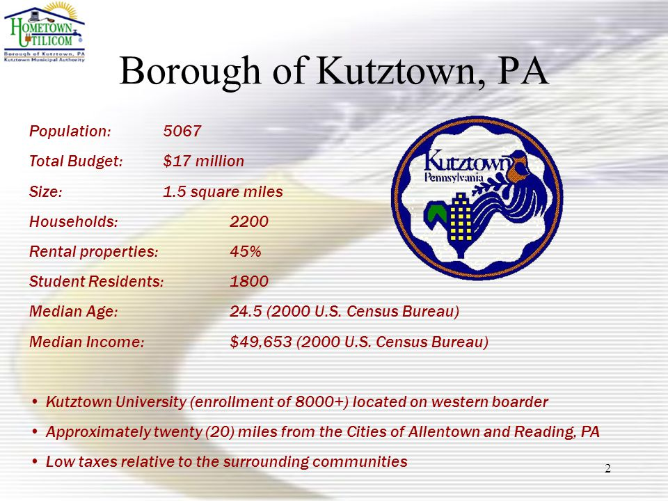 2 Borough of Kutztown, PA Population: 5067 Total Budget:$17 million Size: 1.5 square miles Households: 2200 Rental properties:45% Student Residents:1800 Median Age:24.5 (2000 U.S.