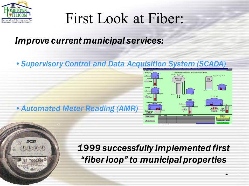 4 First Look at Fiber: Improve current municipal services: Supervisory Control and Data Acquisition System (SCADA) Automated Meter Reading (AMR) 1999 successfully implemented first fiber loop to municipal properties