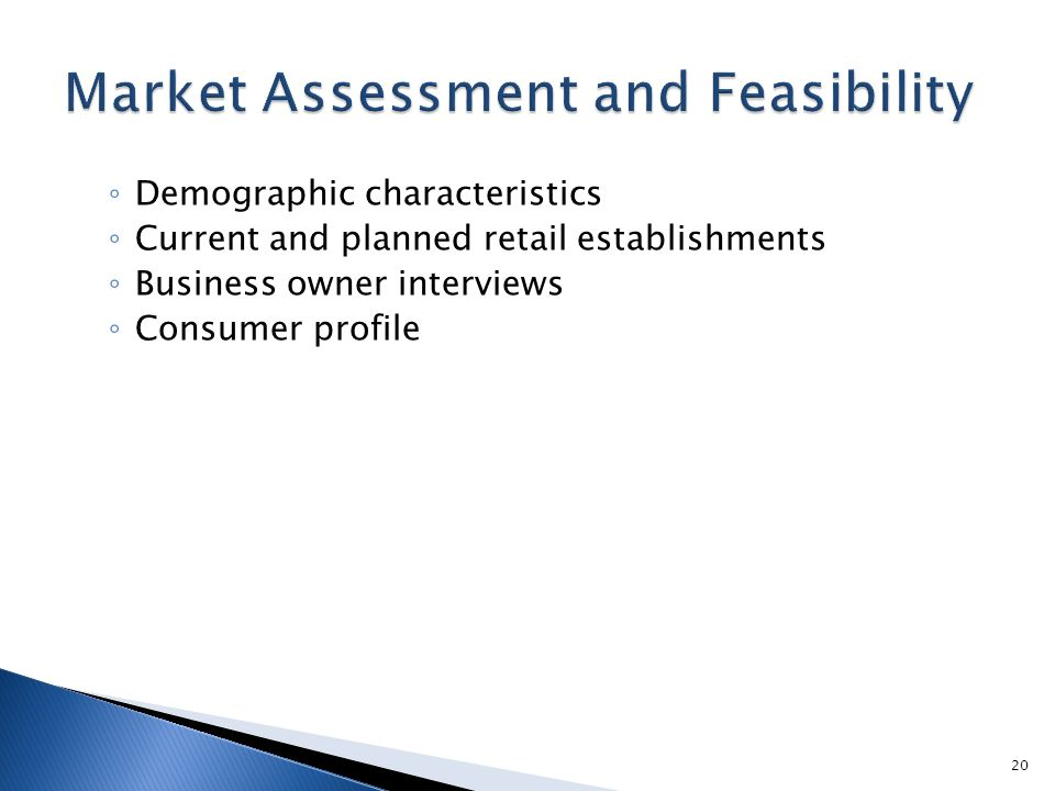 ◦ Demographic characteristics ◦ Current and planned retail establishments ◦ Business owner interviews ◦ Consumer profile 20