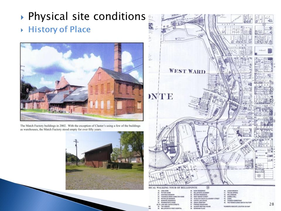  Physical site conditions  History of Place 28