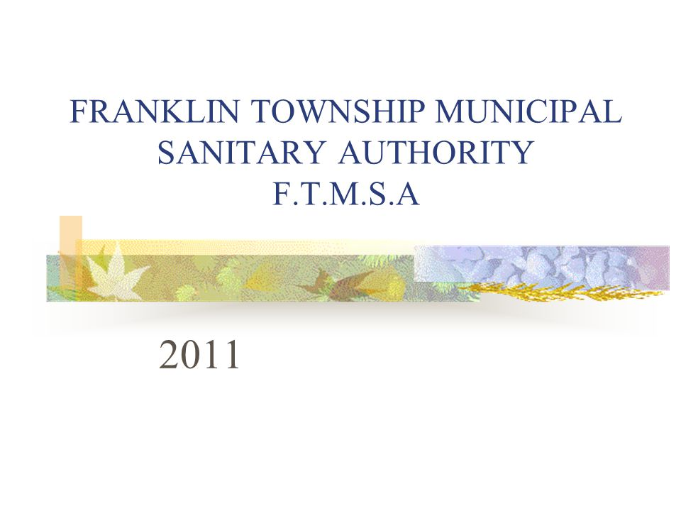 FRANKLIN TOWNSHIP MUNICIPAL SANITARY AUTHORITY F.T.M.S.A 2011