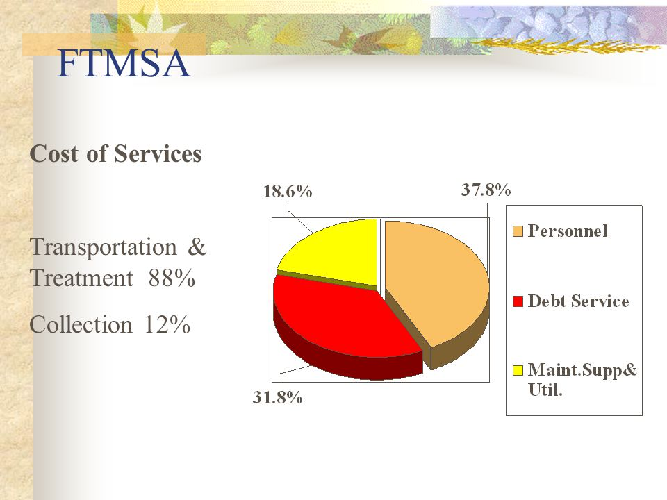FTMSA Cost of Services Transportation & Treatment 88% Collection 12%