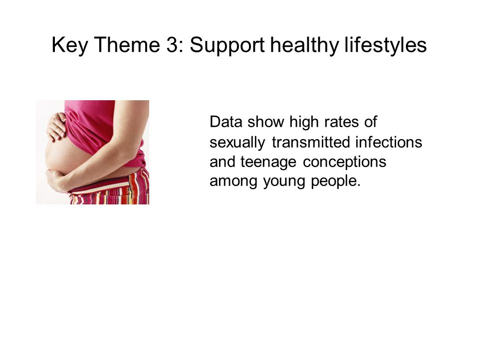 Key Theme 3: Support healthy lifestyles Data show high rates of sexually transmitted infections and teenage conceptions among young people.