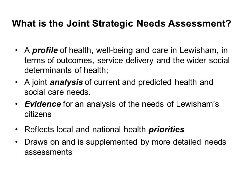 What is the Joint Strategic Needs Assessment.