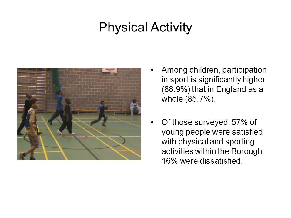 Physical Activity Among children, participation in sport is significantly higher (88.9%) that in England as a whole (85.7%).