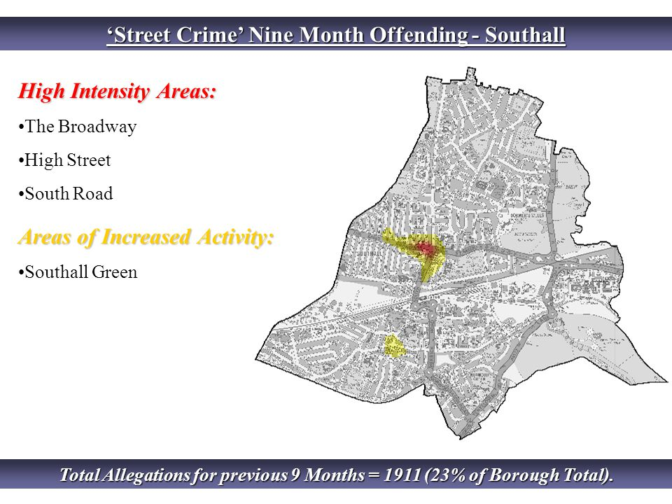 'Street Crime' Nine Month Offending - Southall High Intensity Areas: The Broadway High Street South Road Areas of Increased Activity: Southall Green Total Allegations for previous 9 Months = 1911 (23% of Borough Total).