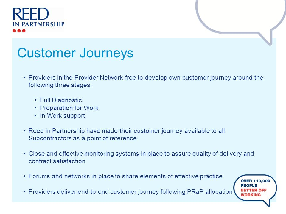 Providers in the Provider Network free to develop own customer journey around the following three stages: Full Diagnostic Preparation for Work In Work support Reed in Partnership have made their customer journey available to all Subcontractors as a point of reference Close and effective monitoring systems in place to assure quality of delivery and contract satisfaction Forums and networks in place to share elements of effective practice Providers deliver end-to-end customer journey following PRaP allocation